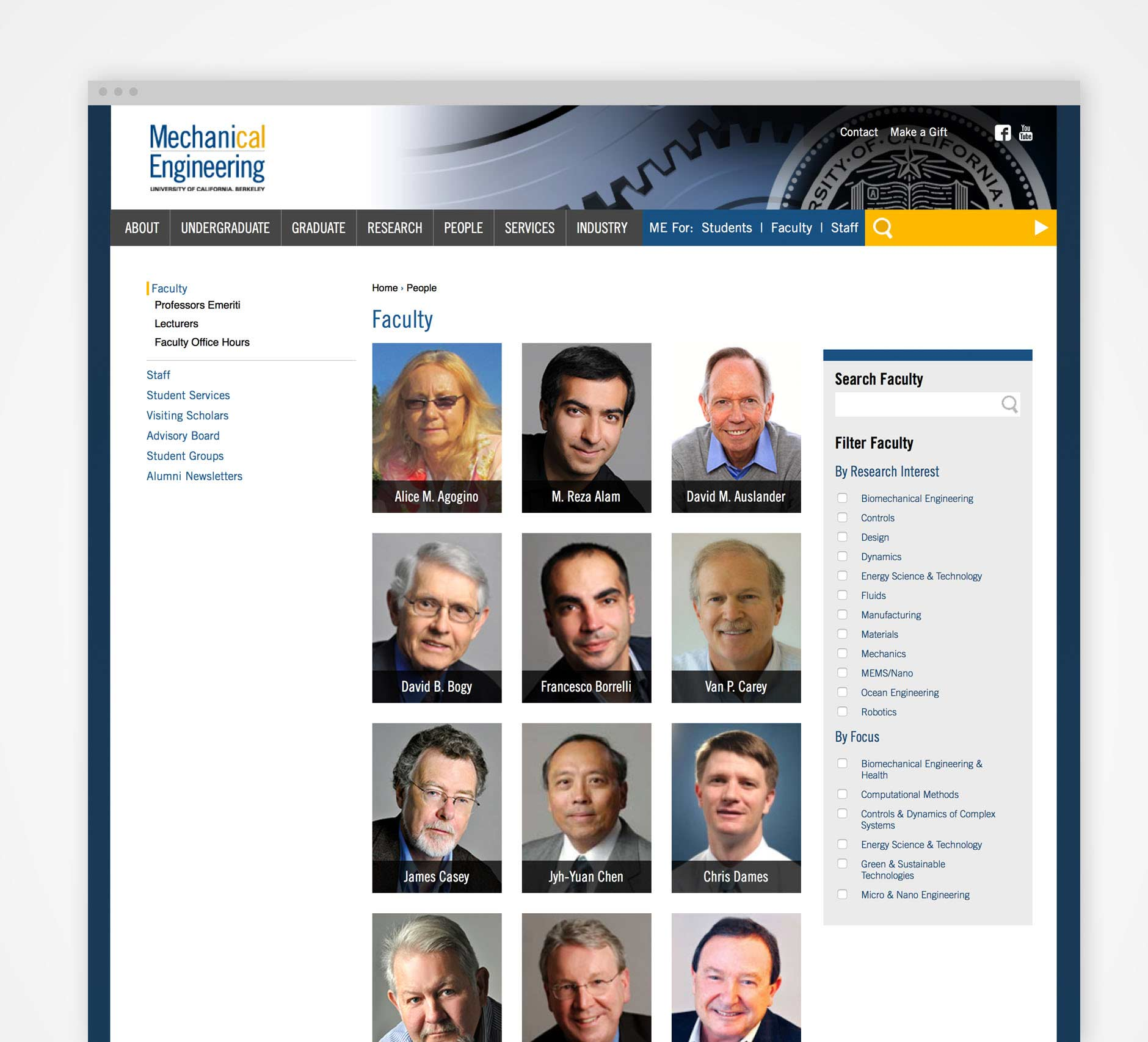 UC Berkeley School of Mechanical Engineering: Website